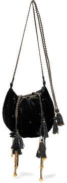 Ulla Johnson Fleur Embellished Embroidered Velvet Shoulder Bag - Black