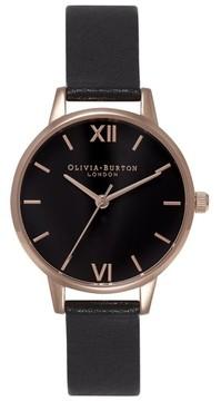Olivia Burton Women's 'Midi Dial' Leather Strap Watch, 30Mm