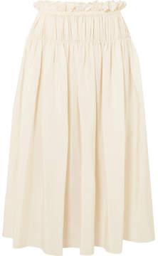 Jil Sander Gathered Silk Crepe De Chine Midi Skirt - Ivory
