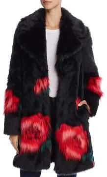 GUESS Melanie Floral Print Faux Fur Coat