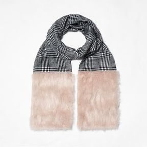 River Island Womens Black check faux fur panel scarf