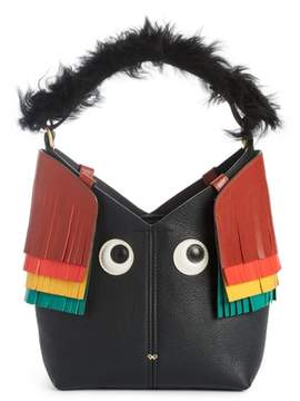 Anya Hindmarch Build a Bag Mini Creature Leather Shoulder Bag with Genuine Shearling