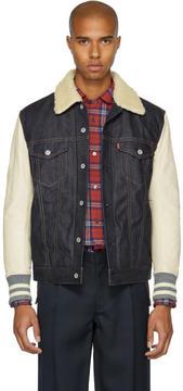 Junya Watanabe Indigo and Beige Levis Edition Sherpa Denim Jacket