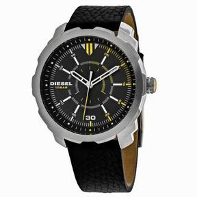 Diesel Machinus DZ1739 Men's Round Black Leather Watch