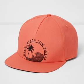 River Island Mens Orange 'Miami Beach' flat peak cap
