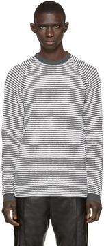 Umit Benan Black and White Striped Supergeelong Sweater