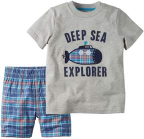 Carter's Infant Boys 2-Piece Deep Sea Explorer T-Shirt & Plaid Short Set