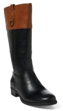 Ralph Lauren Mesa Faux-Leather Riding Boot Black/Tan Tumbled 4