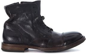 Moma Dark Brown Leather Ankle Boots With Laces And Zip