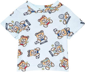 Moschino Pale Blue Bear Sport All Over Print T-Shirt