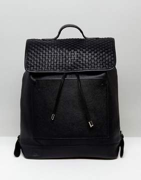 Asos Leather Backpack With Woven Front Panel Design