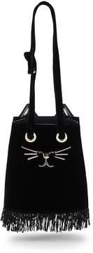 Charlotte Olympia Women's Small Velvet Feline Bucket Bag