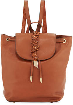 Foley + Corinna Dahlia Flower Leather Backpack, Medium Brown