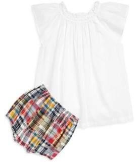 Ralph Lauren Girl's Two-Piece Flutter Sleeve Top& Madras Shorts Set