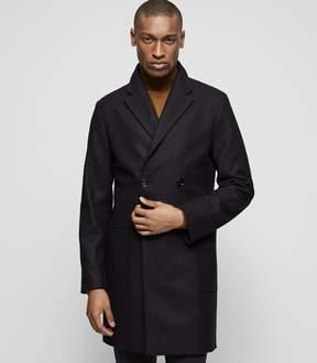 Reiss BRANDO Wool-blend check overcoat
