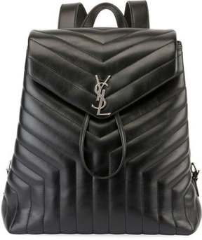 Saint Laurent Loulou Monogram Medium Quilted Leather Backpack - BLACK - STYLE