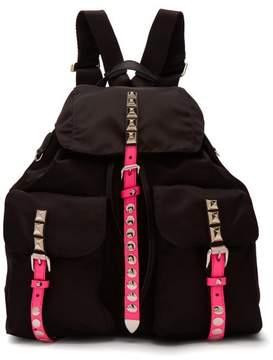 Prada New Vela Studded Nylon Backpack - Womens - Black Pink