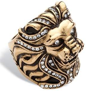 Swarovski Seta Jewelry Men's Pave Crystal Lion Ring Made With Elements.
