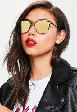 Missguided Yellow Flat Bar Metal Frame Sunglasses