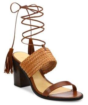 Schutz Luky Lace-Up Leather Sandals