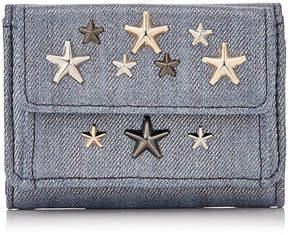 Jimmy Choo NEMO Dusk Blue and metallic denim fabric Small Wallet with MultiMetal Stars.