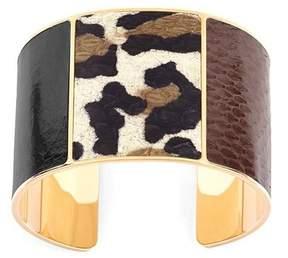 Aspinal of London Minerva Cuff Bracelet In Black, Leopard Brown Snake