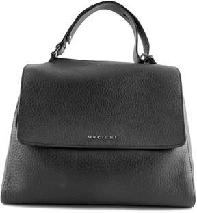 Orciani Black Leather Sveva Medium Bag.