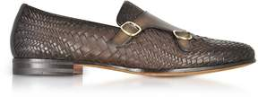Santoni Dark Brown Woven Leather Double Monk Strap Shoes