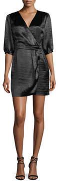 BA&SH Cami V-Neck 3/4-Sleeve Crossover Satin Dress