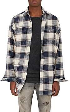R 13 Men's Windowpane-Checked Flannel Shirt