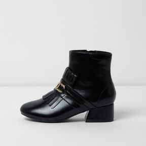 River Island Girls black loafer detail ankle boots