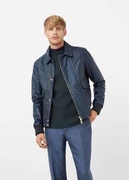 Mango Outlet Pocket leather jacket