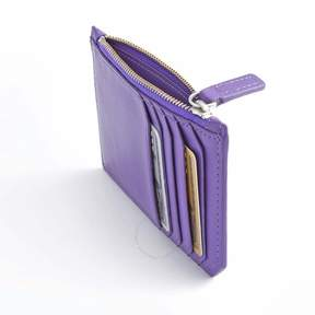 Royce Leather Royce Purple Zippered Credit Card Wallet