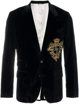 Dolce & Gabbana logo crest velvet blazer