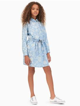 Calvin Klein Jeans Girls Floral Chambray Shirtdress