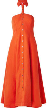 Mara Hoffman Veronique Tencel And Linen-blend Halterneck Dress - Bright orange