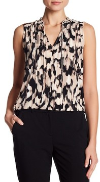 Ellen Tracy Smocked High Neck Sleeveless Top