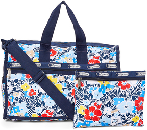 Le Sport Sac Navy Ocean Blooms Medium Weekender & Pouch