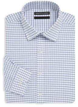 Saks Fifth Avenue BLACK Windowpane Cotton Dress Shirt