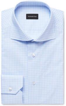 Ermenegildo Zegna Blue Cutaway-Collar Checked Cotton-Poplin Shirt