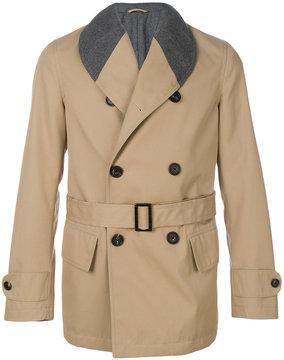 Lardini contrast collar short trench coat