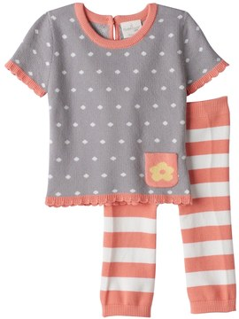 Cuddl Duds Baby Girl Polka-Dot Knit Top & Striped Pants Set