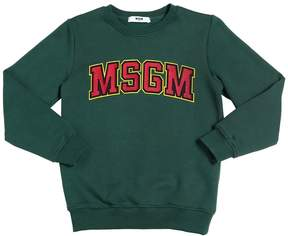 MSGM Logo Patch Cotton Sweatshirt