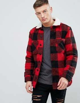 Pull&Bear Checked Sherpa Overshirt In Red