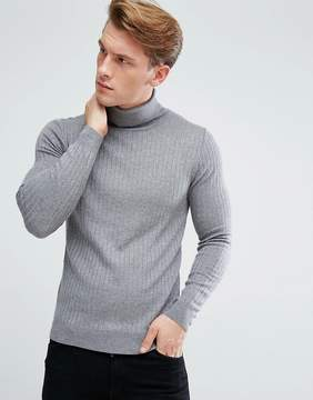 Benetton Roll Neck Sweater In Chunky Rib