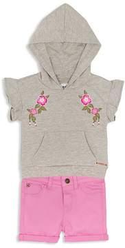 Hudson Girls' Embroidered Hoodie & Cuffed Shorts Set - Little Kid