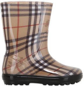 Check Printed Rubber Rain Boots