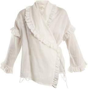 Isa Arfen Ruffle-trimmed ramie wrap shirt