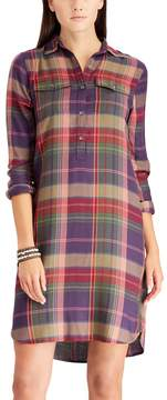 Chaps Women's Plaid Twill Shirt Dress