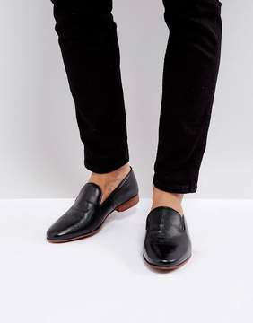 Asos Loafers In Black Leather With Emboss Detail